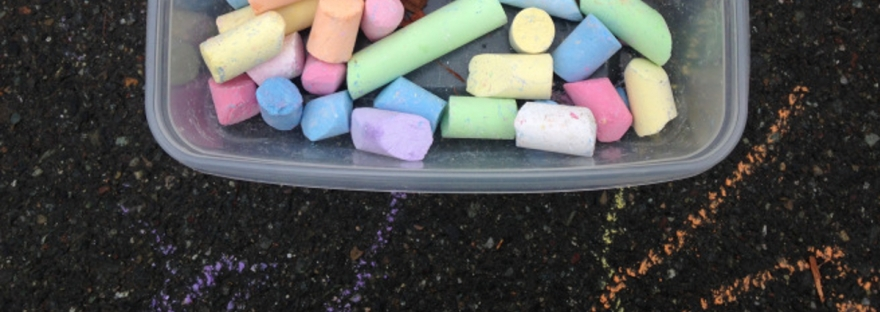 University-Ravenna Cooperative Preschool : Chalk during outdoor recess on the Bryant Elementary School playground