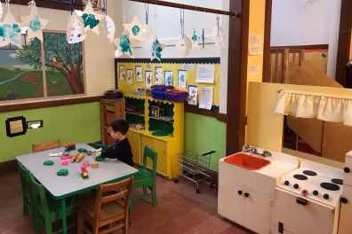 University-Ravenna Cooperative Preschool : Playdough in the Home Center