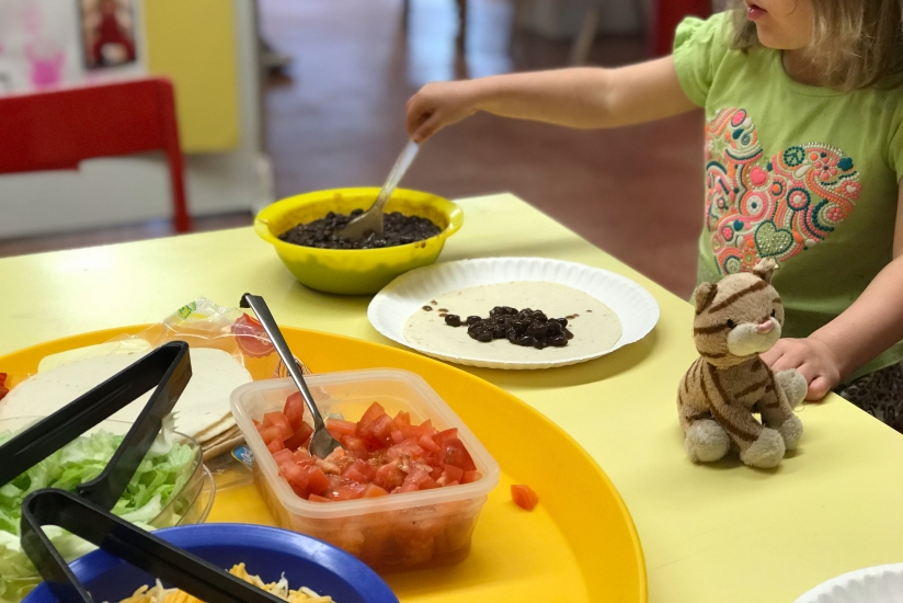 University-Ravenna Cooperative Preschool : Making tacos in the Pre-3s Class