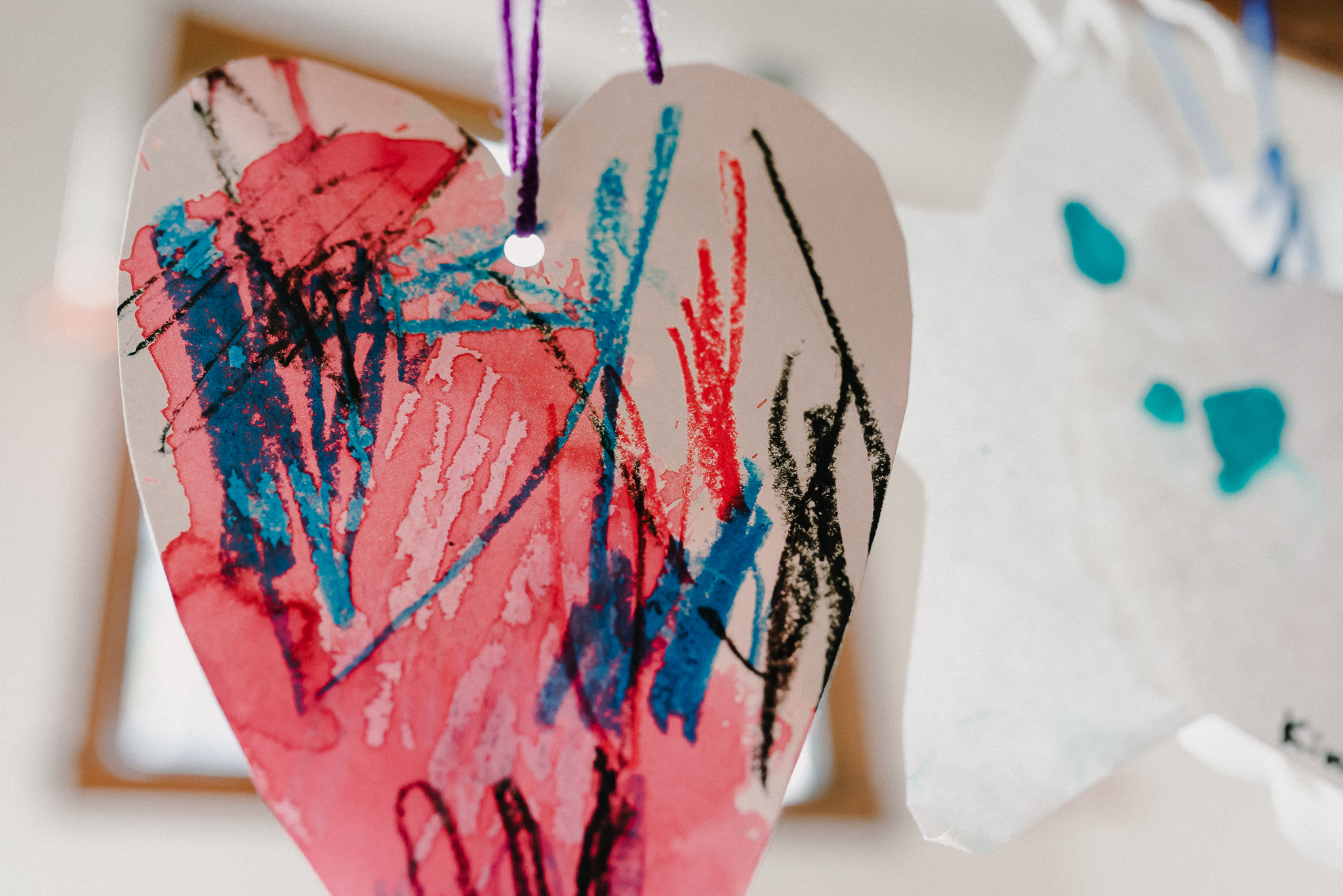 University-Ravenna Cooperative Preschool : Mixed media heart art - watercolor and crayon