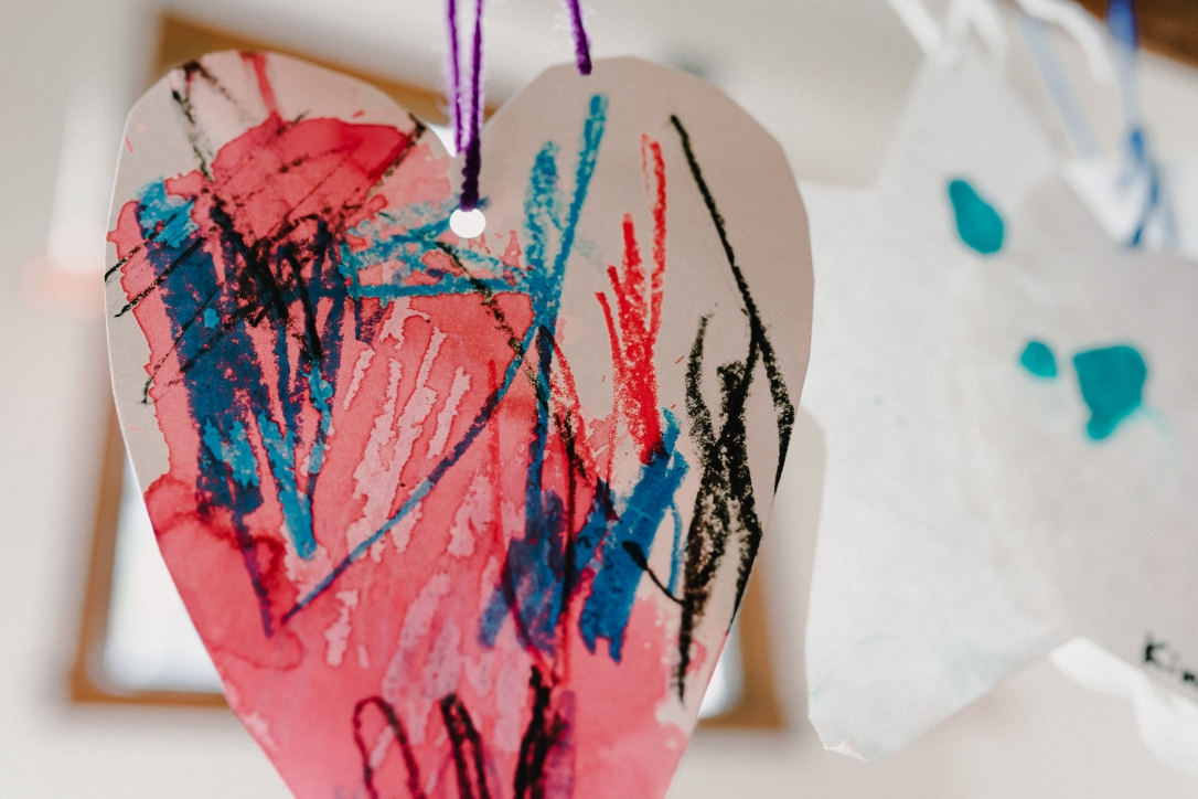 University-Ravenna Cooperative Preschool : Mixed media heart art - watercolor and crayon